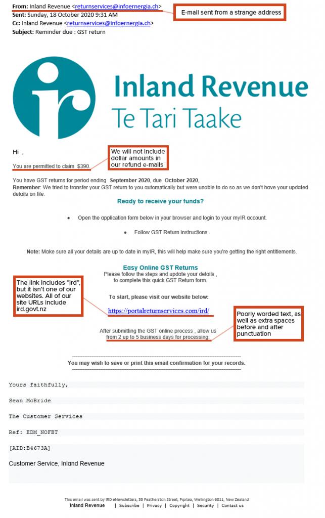 IRD Phishing Email