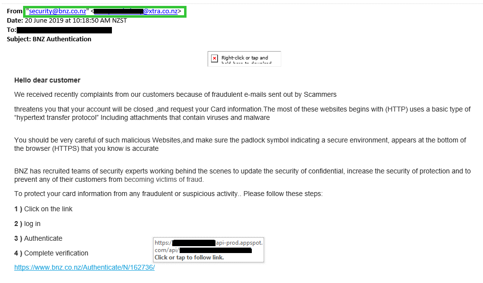 bank phishing email